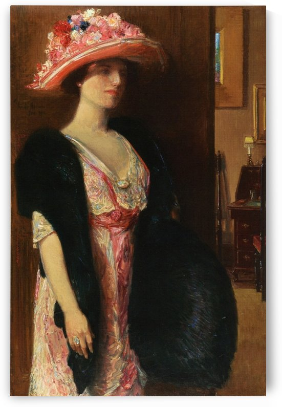 Fire Opals Lady in Furs - Portrait of Mrs. Searle by Frederick Childe Hassam