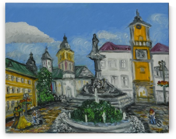 Banska Bystrica City Square Central Slovak Republic new oil painting by Tomas Strelinger by Edwin John