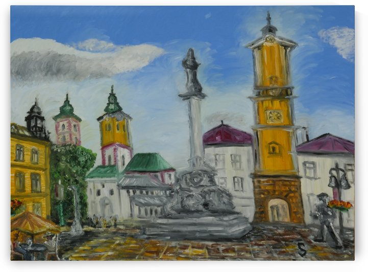 New commissioned work of Banska Bystrica Panny Márie monument and the leaning clock tower slovakia by Tomas Strelinger by Edwin John