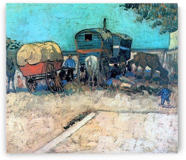 Gypsy camp with horse carriage by Van Gogh by Van Gogh