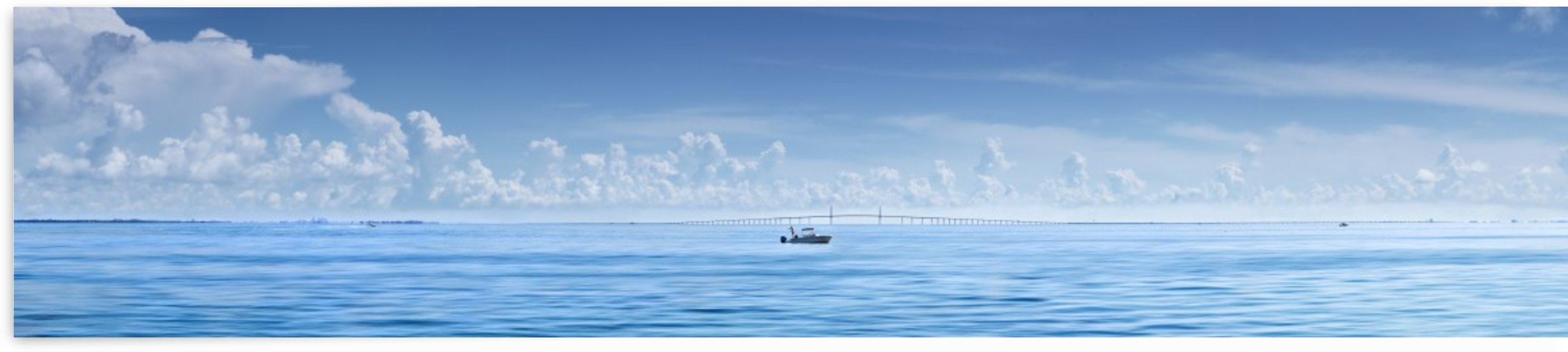 Fishing boat in front of Sunshine Skyway by Adrian Brockwell