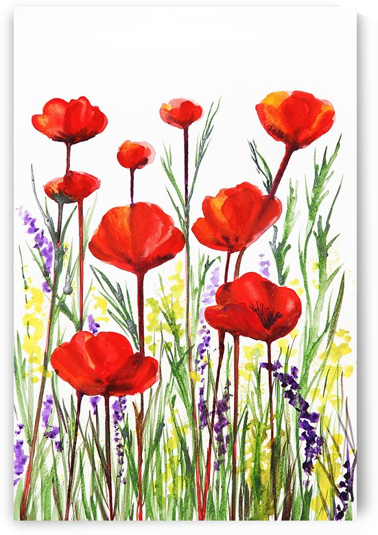 Red Poppies And Lavender Field Watercolor by Irina Sztukowski