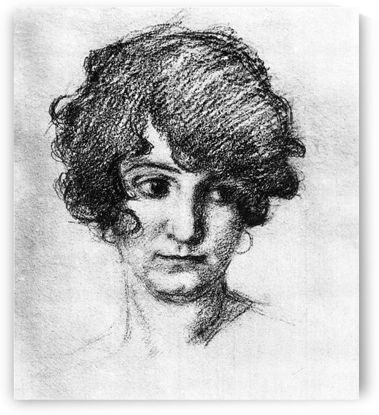 Head of the daughter of the artist, Lorli  by Albin Egger-Lienz by Albin Egger-Lienz