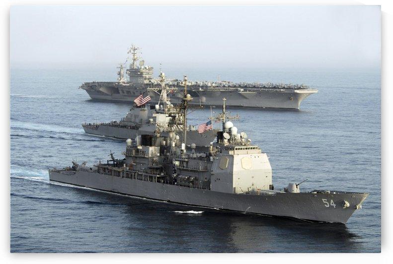 USS Antietam USS Nimitz and USS Higgins transit through the Gulf of Oman. by StocktrekImages