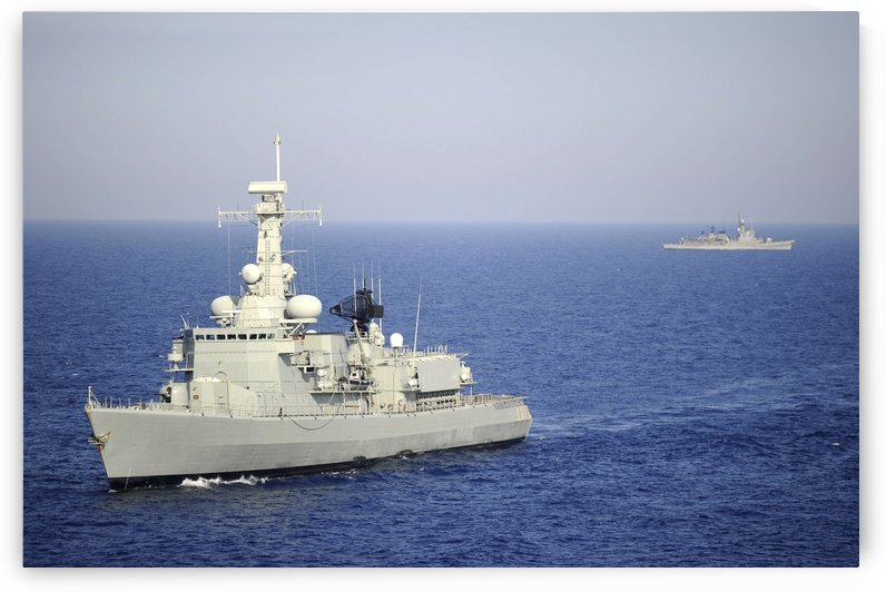 Portuguese navy frigate NRP Bartolomeu Dias in transit in the Mediterranean Sea. by StocktrekImages
