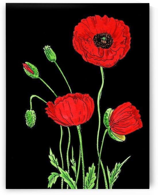 Red Poppy Flowers Watercolor by Irina Sztukowski