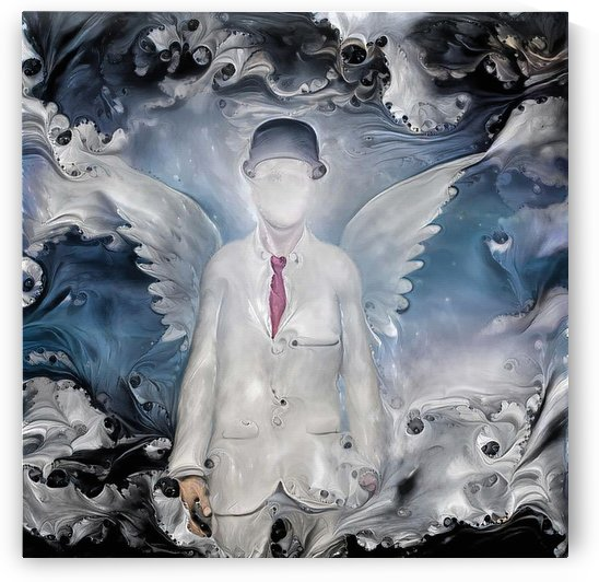 Angel in white suit by Bruce Rolff