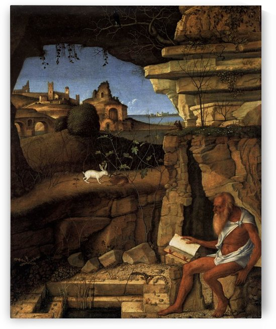 Saint Jerome reading in a Landscape by Giovanni Bellini