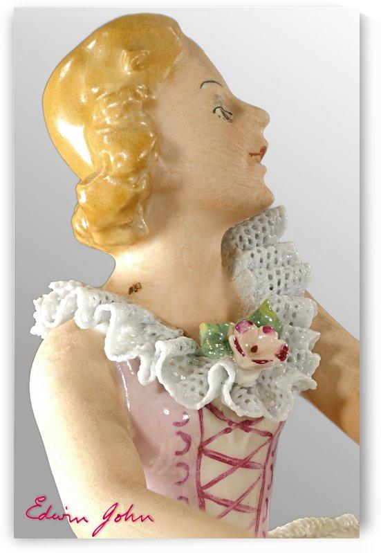 Porcelain Dancer Head and Shoulder Close-Up - Edwin John by Edwin John