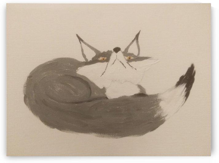 Gray Fox Looking to the Skies by Bells Paintings
