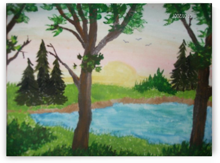 Sunset over the pond by Bells Paintings