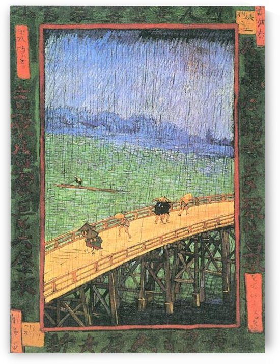 Japanese Bridge in the Rain (after Hiroshige) by Van Gogh by Van Gogh