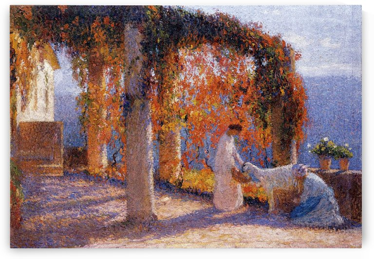 The Arbour in Autumn with Two Women and a Goat by Henri Martin