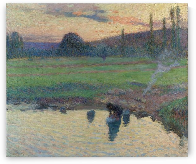 Laundress by the Water by Henri Martin