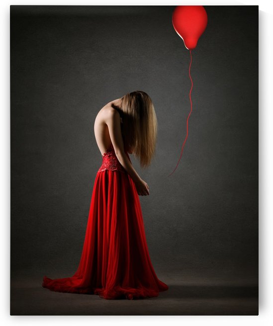 Sad woman in red by Johan Swanepoel