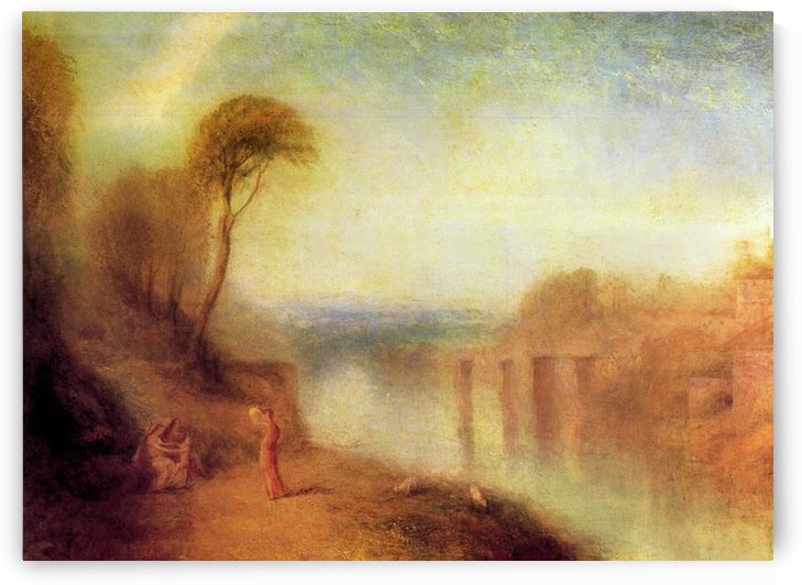 Landscape with a woman with a tambourine by Joseph Mallord Turner by Joseph Mallord Turner