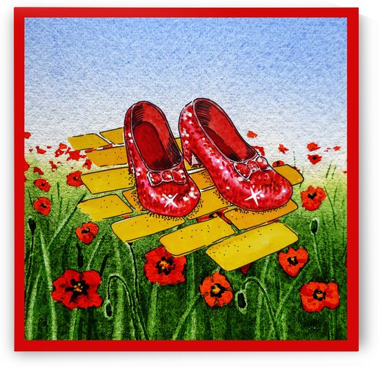 Ruby Slippers Yellow Brick Road Red Poppies Field by Irina Sztukowski