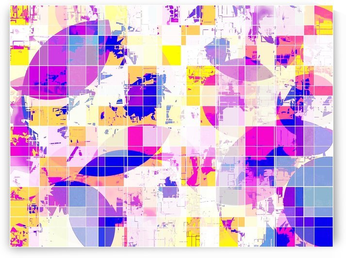 geometric square and circle pattern abstract in pink blue yellow by TimmyLA