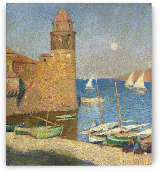 The Tower of Collioure under the Rising Moon by Henri Martin