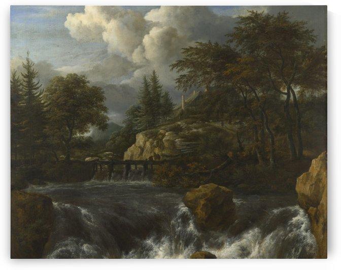 A Waterfall in a Rocky Landscape by Jacob Van Ruisdael