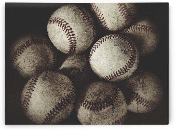 Grungy Baseballs on a Shelf  by Leah McPhail