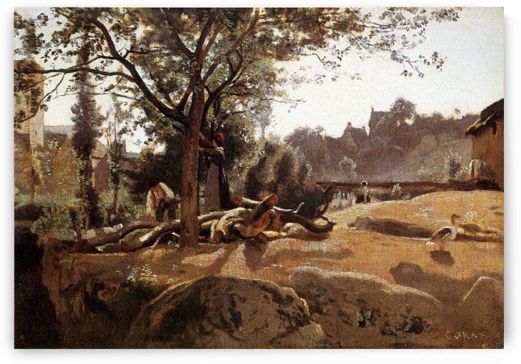 Peasants under the Trees at Dawn by Jean-Baptiste-Camille Corot