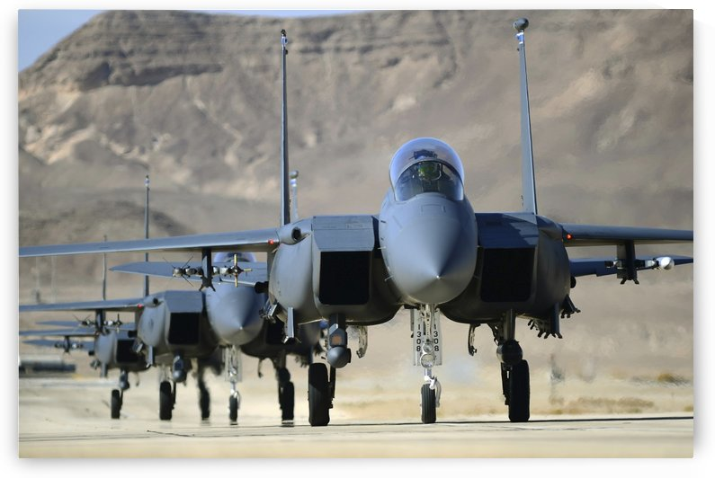 A group of F-15E Strike Eagles at Uvda Air Force Base Israel. by StocktrekImages