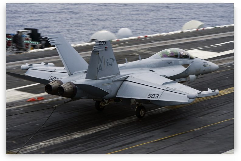 An EA-18G Growler lands on the flight deck of USS Carl Vinson. by StocktrekImages