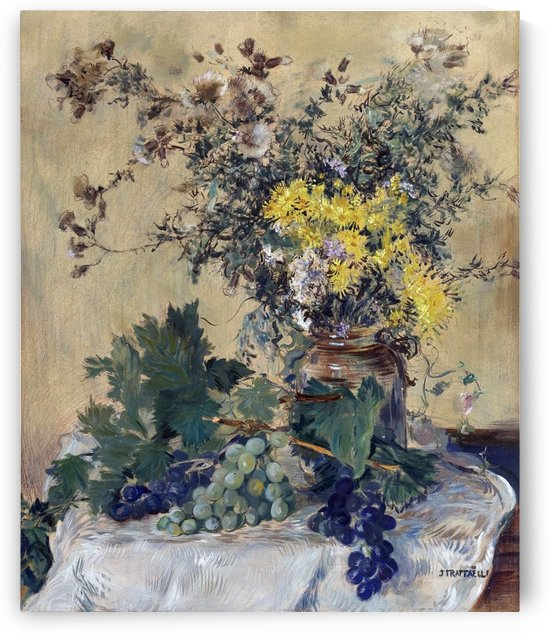 Still Life with Flowers and Grapes by Jean-Francois Raffaelli