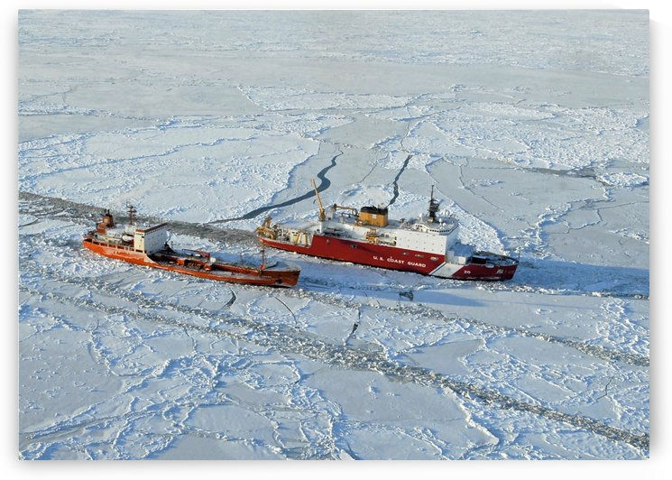 USCG Healy breaks ice around a Russian-flagged tanker south of Nome Alaska. by StocktrekImages