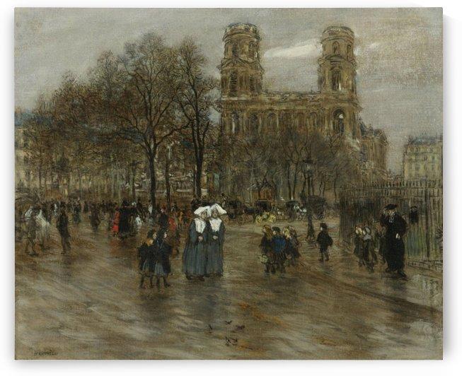 St. Sulpice Square, Paris by Jean-Francois Raffaelli