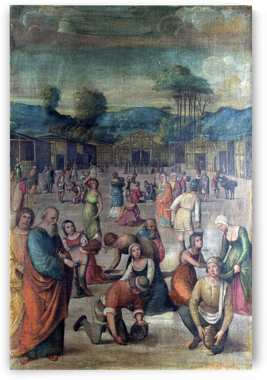 The Story of Moses The Israelites gathering Manna by Lorenzo Costa