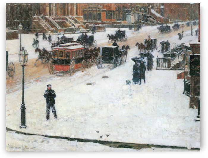 Fifth Avenue in Winter by Hassam by Hassam