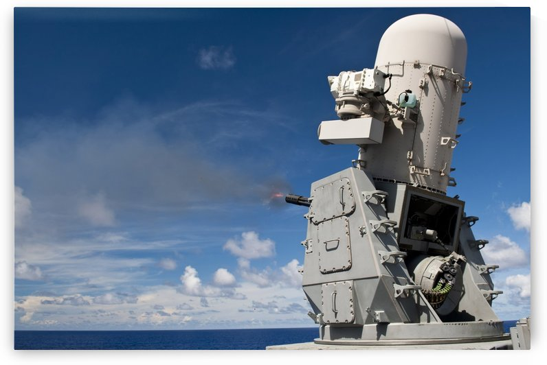 A Phalanx close-in weapons system is fired aboard USS Cowpens. by StocktrekImages