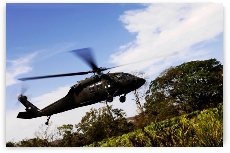 A U.S. Army UH-60 Black Hawk helicopter flies out of an emergency landing zone. by StocktrekImages