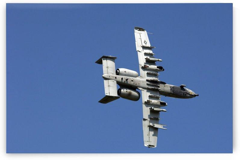 An A-10 Thunderbolt maneuvers through the sky. by StocktrekImages