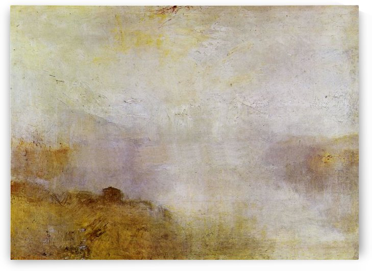 Mountain scene with lake and cottage by Joseph Mallord Turner by Joseph Mallord Turner