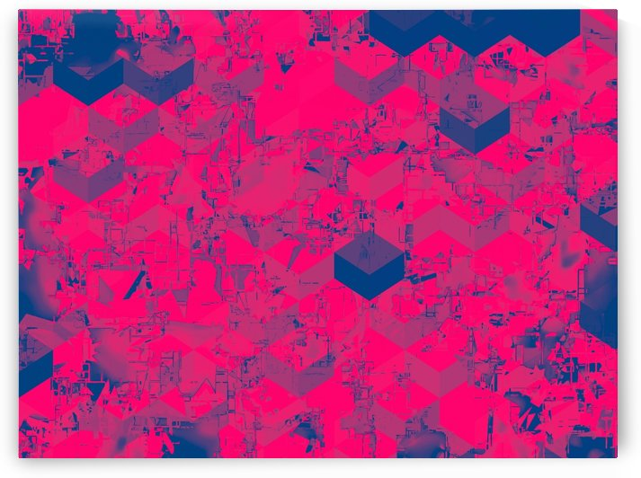 geometric square pattern abstract in pink blue by TimmyLA