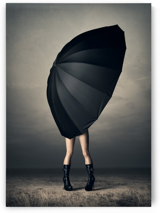 Woman with huge umbrella by Johan Swanepoel