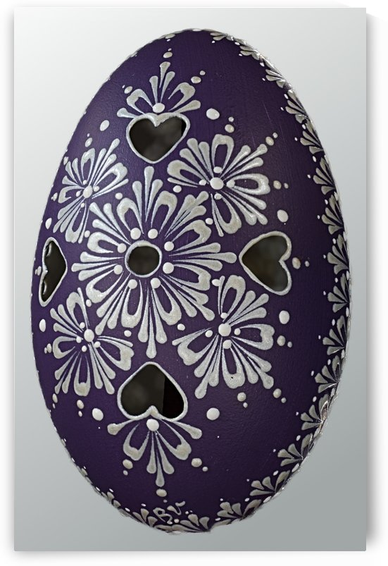 Handcrafted and decorated blue Goose Egg white decoration by Blanka Vaňová Slovakia  by Edwin John