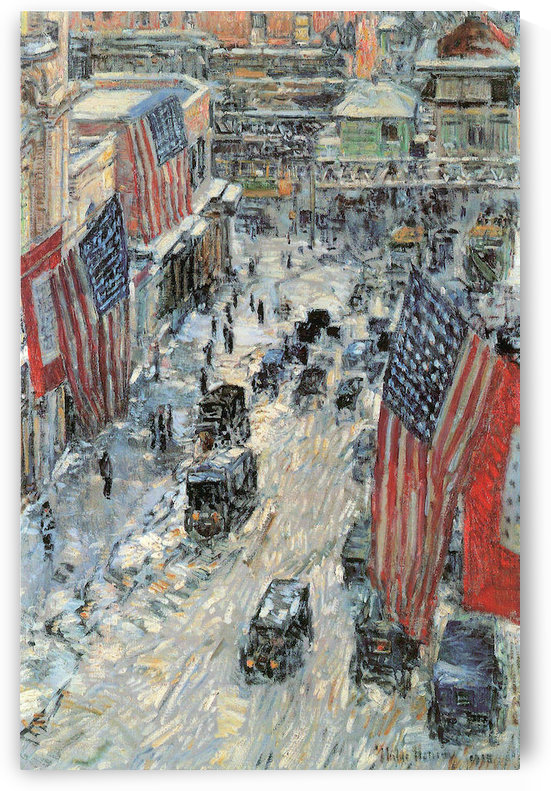 Flags on Fifth Avenue, Winter 1918 by Hassam by Hassam