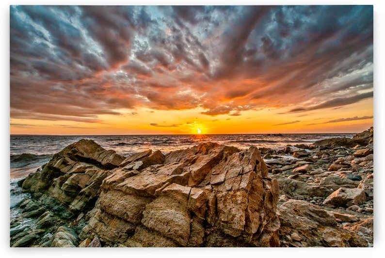 Rocks and Sunset by Michel Soucy