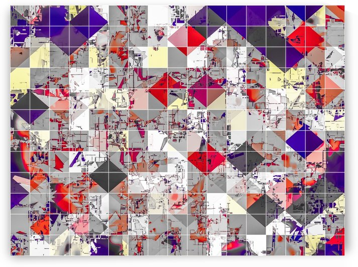 geometric square pixel pattern abstract in purple orange red by TimmyLA