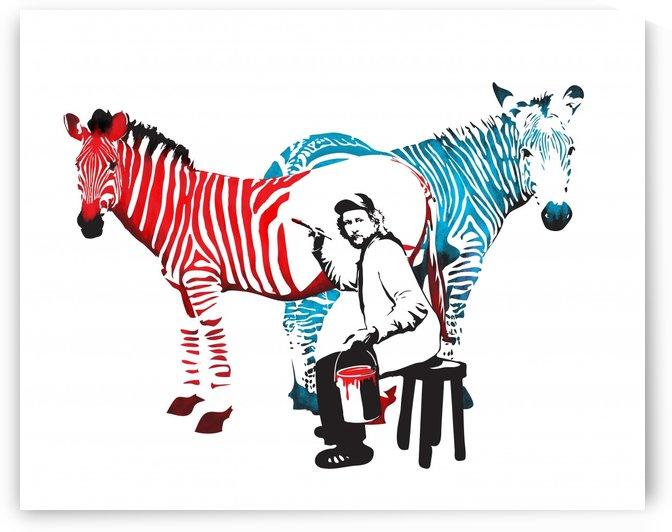 Zebra painter graffiti art by Sassan Filsoof