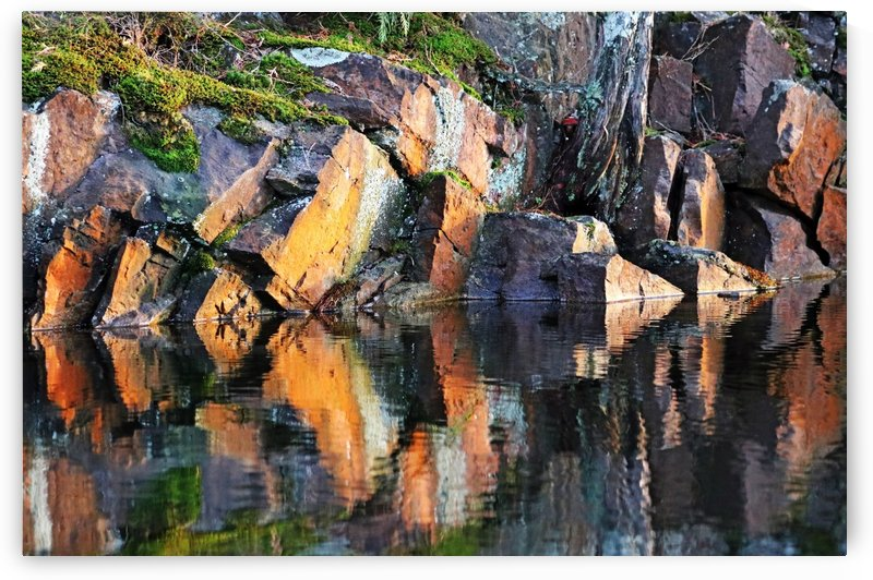 Shawanaga Rock And Reflections X by Deb Oppermann