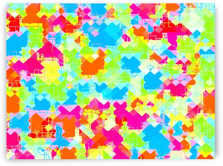 geometric pixel square pattern abstract in pink blue green orange by TimmyLA