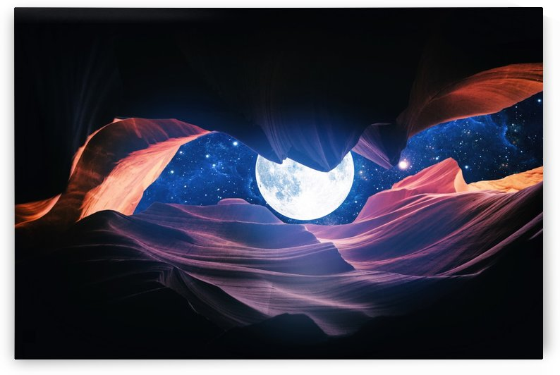 Grand Canyon with Space & Full Moon Collage I by Art Design Works