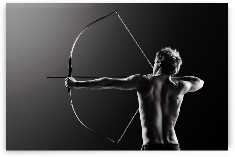 Male archer drawing long bow by Johan Swanepoel