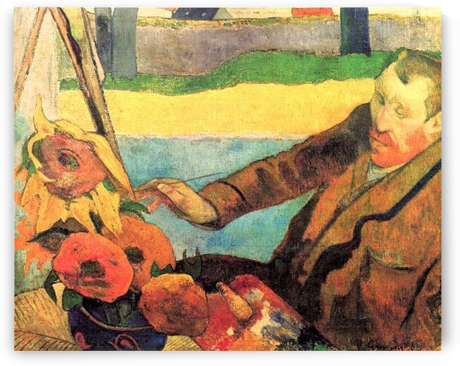 Portrait of Vincent van Gogh painting Sunflowers by Van Gogh by Van Gogh