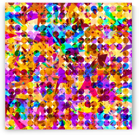 geometric circle and triangle pattern abstract in orange blue pink purple by TimmyLA
